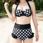 Cqda Polka Dot Pattern Polyester Halter Top w/ High-Waist Shorts Swimsuit - Black + White (M)