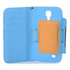 Protective Flip-open PU Case w/ Hand Strap + Card Slot for Samsung S5 - Blue