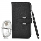 Protective Flip-open PU Case w/ Holder + Card Slot + Stylus + Cable + Screen Guard for Samsung i9300