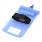 WP031 Handy Waterproof PVC Storage Carrying Armband Bag w/ Strap for Cellphone - Blue