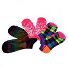 Patterned Cute Casual Combed Cotton Socks - Black + Red + Multi-Colored (3 Pairs)