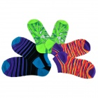 Patterned Cute Casual Combed Cotton Socks - Fluorescent Green + White + Multi-Colored (3 Pairs)