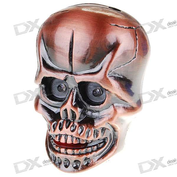LED Skull Butane Lighter With Glowing Eyes and Spooky Sound (Brown)