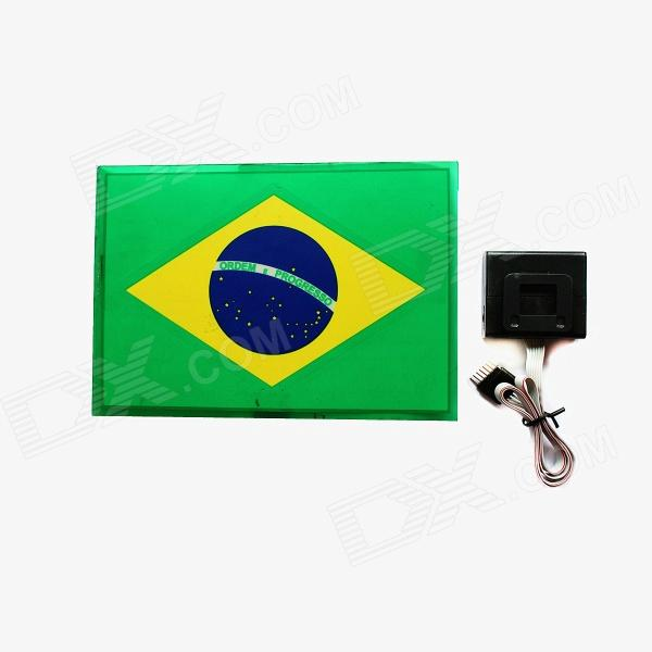 Brazilian Flag Replacement Sound / Music Activated Spectrum VU Meter EL Visualizer - Green (2 x AAA)