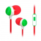 3.5mm Plug In-Ear Earphone w/ Microphone for IPHONE / Samsung / HTC + More - Red + Green + White