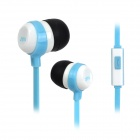 3.5mm Plug In-Ear Earphone w/ Microphone for IPHONE / Samsung / HTC + More - White + Sky Blue