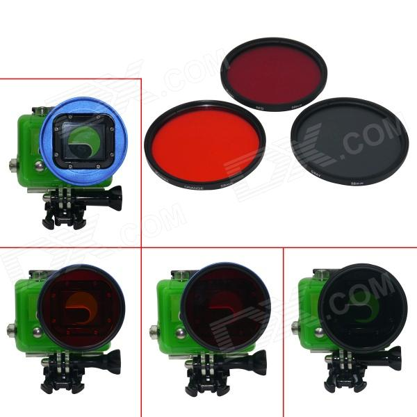 DL Professional 58mm Underwater Color-Correction Red / Orange / Gray Dive Filters for GoPro Hero 3 new filters