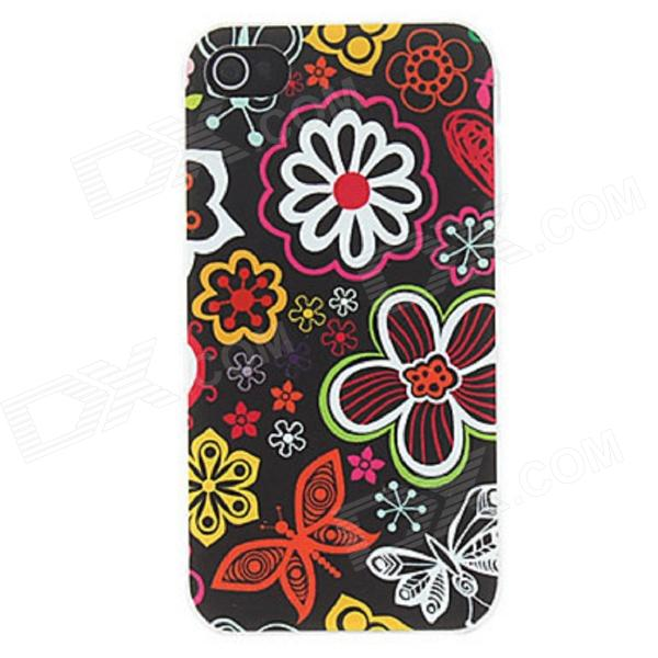 Kinston Various Flora Pattern Matte Protective PC Hard Back Case for IPHONE 4 / 4S - Black + Red kinston kst00045 grid pattern protective plastic hard back case for iphone 4 4s white black