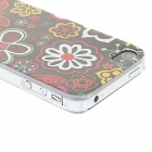 Kinston Various Flora Pattern Matte Protective PC Hard Back Case for IPHONE 4 / 4S - Black + Red
