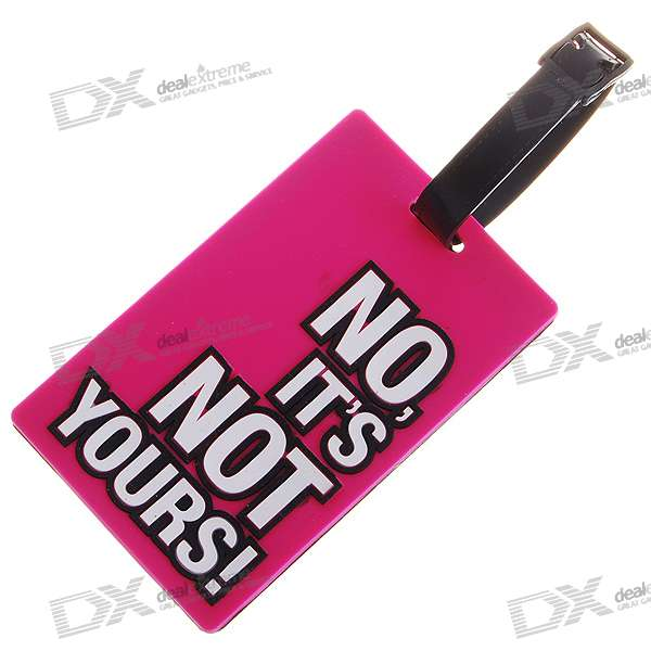 Secure Travel Suitcase ID Luggage Tag - NO, IT'S NOT YOURS! (Pink)