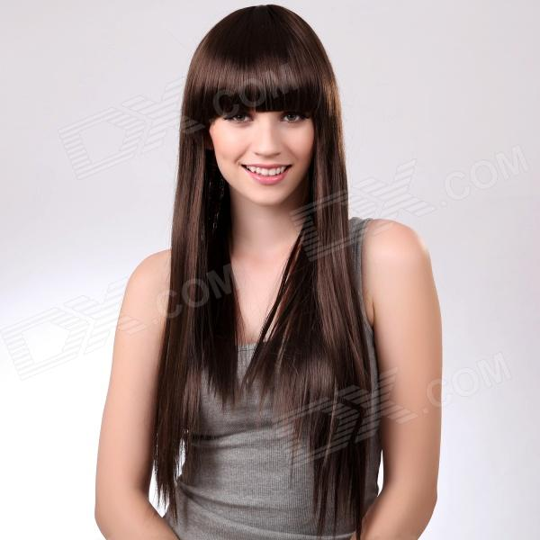 ls002-6 High Quality Capless Long Straight Synthetic Hair Wig - Coffee