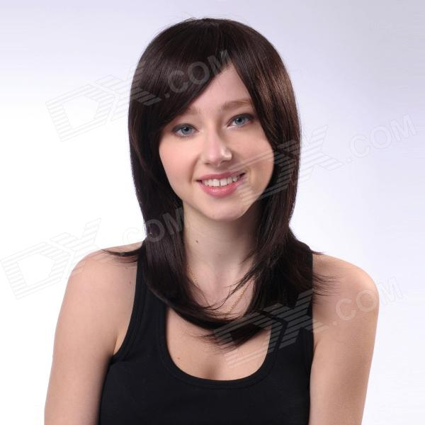 Capless 100% Human Hair Straight Hair Wig - Dark Red + Black