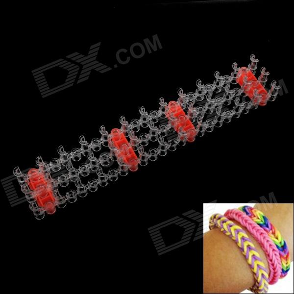 DIY Silicone Rubber Band Bracelet - Red + Transparent diy silicone rubber band bracelet purple transparent