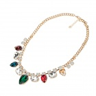 LM022 Elegant Fashion Rhinestone Pendant Necklace - Multicolor
