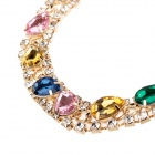 LM021 Elegant mode färgglada strass halsband - Golden + Multicolor