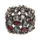 LM015  Classic Elegant Wide Bracelet for Women - Grey + Red