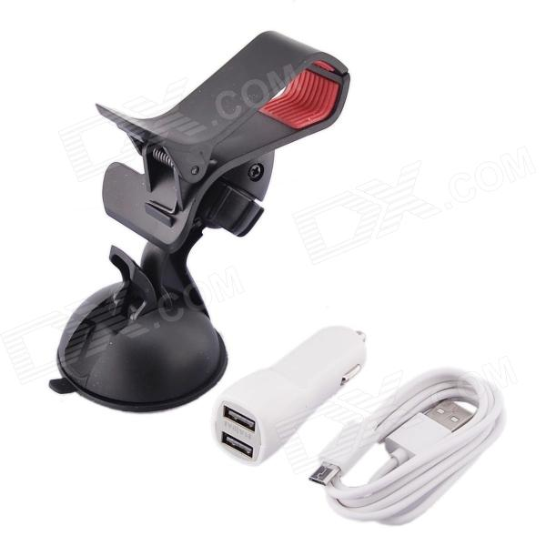 Car Suction Cup Holder + Dual USB Car Charger w/ Micro-USB Cable for Phone / GPS - White+ Black mobile phone holder w double usb car charger micro usb cable for samsung htc sony white