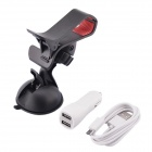 Car Suction Cup Holder + Dual USB Car Charger w/ Micro-USB Cable for Phone / GPS - White+ Black