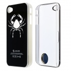 ZH01 Cancer Pattern LED Flash Light Color Changing Protective ABS Back Case for IPHONE 4/4S - Black