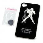 ZH01 Aquarius Pattern LED Flash Light Protective ABS Back Case for IPHONE 4 / 4S - Black