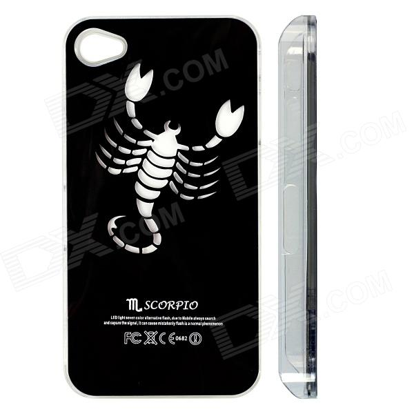 ZH01 Scorpio Pattern LED Flash Light Protective ABS Back Case for IPHONE 4 / 4S - Black zh01 good luck dragon pattern led flash light color changing protective back case for iphone 4 4s