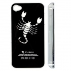 ZH01 Scorpio Pattern LED Flash Light Protective ABS Back Case for IPHONE 4 / 4S - Black