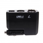 BM-035 1-to-2 Dual-USB Car Cigarette Lighter Socket - Black