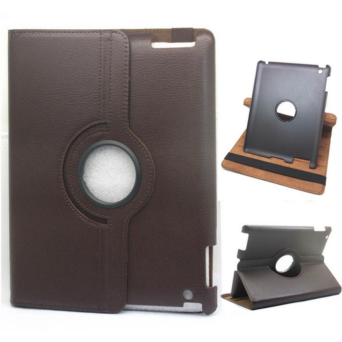 Protective PU Leather 360 Degree Rotation Case for IPAD 2 / 3 / 4 - Dark Brown momax x lens 4 in 1 120 degree wide angle 15x macro lens 180 degree fisheye cpl filter for smartphone tablet silver