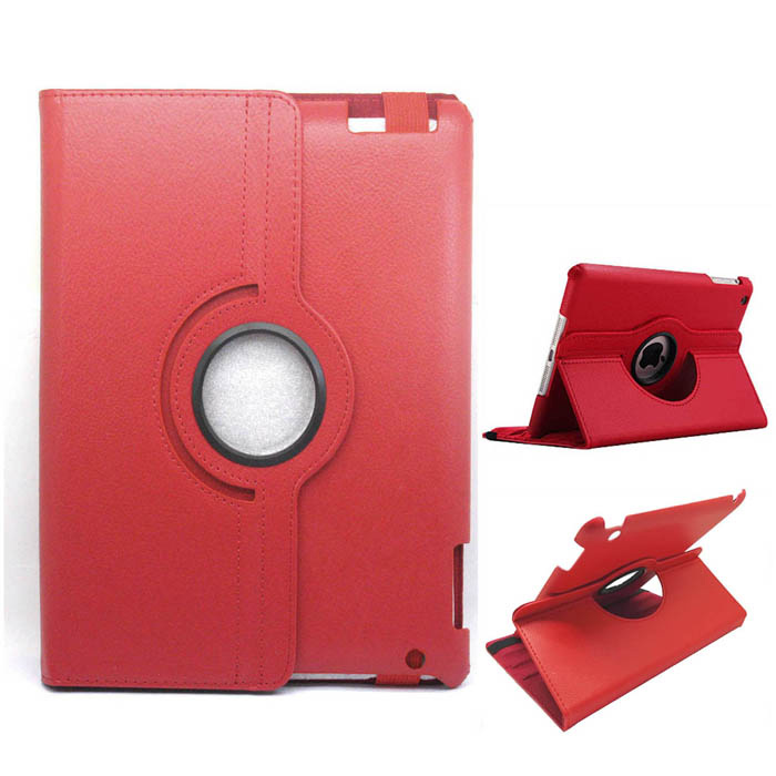 Protective PU Leather 360 Degree Rotation Case for IPAD 2 / 3 / 4 - Red crocodile grain style protective 360 degree rotation pu leather case for ipad 2 3 4 brown