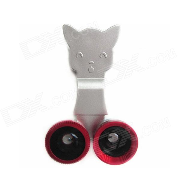 Cat Style Clip-Type 3-in-1 Universal Macro + Wide Angle + Fisheye Lens for Cell Phones - Red