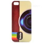 Retro Camera Pattern Protective Plastic Back Case for IPHONE 5 / 5S - Dark Brown