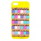 Rhinestones Applied Protective ABS Back Case for IPHONE 5 / 5C - Yellow + Golden + Multicolored