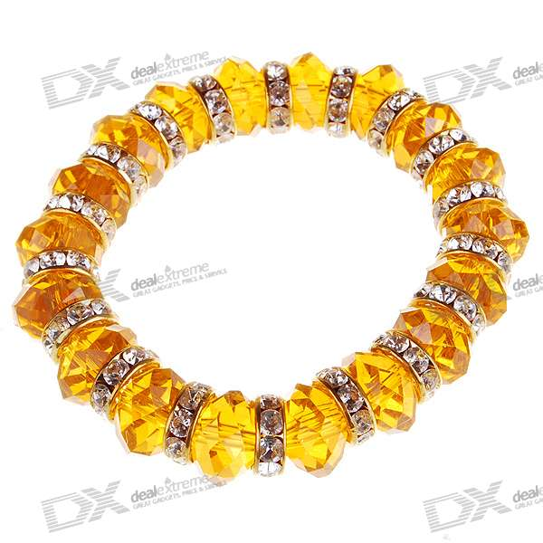 Golden Crystal Bead Bracelet (18CM)