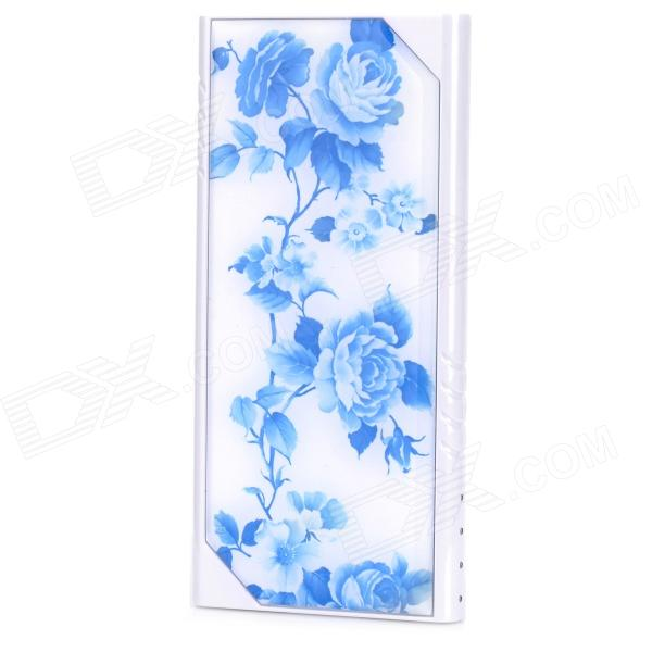 LSON Z-8808 Rose Pattern Dual USB 5V 8800mAh Li-ion Polymer Battery Power Bank - White + Blue tp4056 1a li ion battery charging module blue 4v 8v