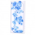 "LSON Z-8808 Rose Pattern Dual USB 5V ""8800mAh"" Li-ion Polymer Battery Power Bank - White + Blue"