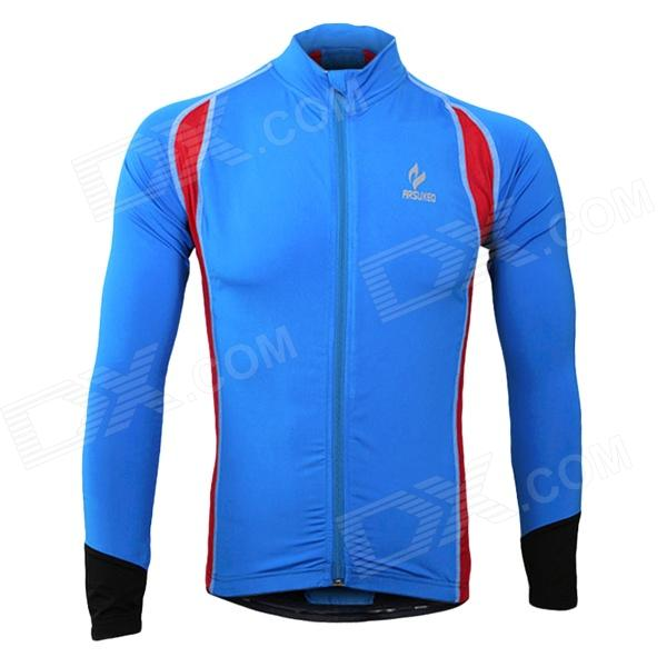 ARSUXEO AR60026 Men's Outdoor Cycling Lycra + Polyester Tight Long-sleeve Shirt - Blue + Red (XL) arsuxeo 60017k outdoor cycling polyester lycra bike pants for men black dark green size l
