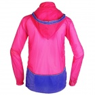 ARSUXEO #0015 Sunproof Outdoor Sports Polyester Hooded Jacket for Women - Red + Blue (L)