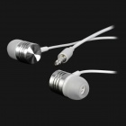 S-what Universal 3.5mm Plug In-Ear Earphone w/ Microphone / Remote - White + Silver