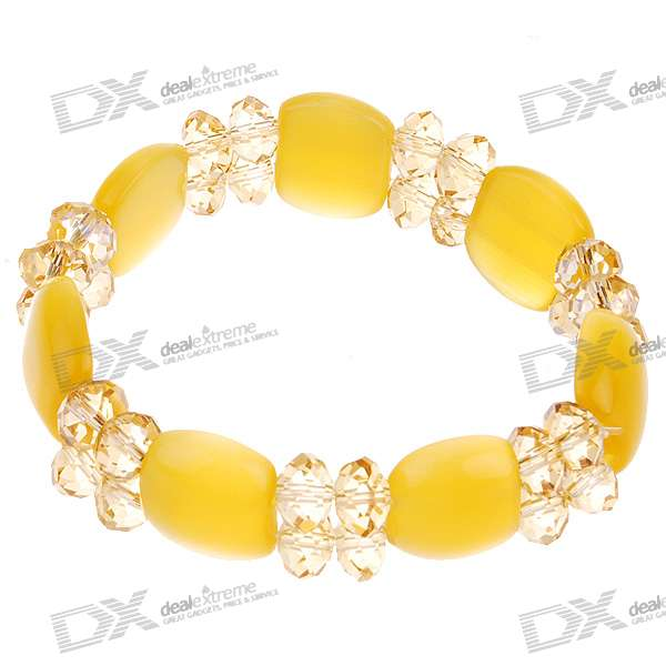 Crystal Yellow Bead Bracelet (17CM)
