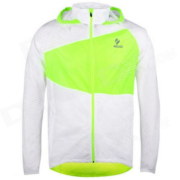 ARSUXEO 0015 Men's Outdoor Sunproof Polyester Hooded Jacket - White + Green (XL)