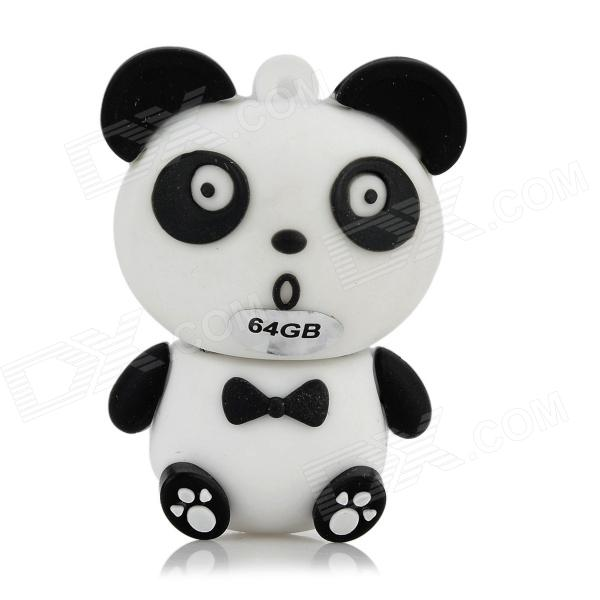 UPX-2 Panda Style Cartoon USB 2.0 Flash Drive - White + Black (64GB)