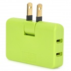 180 Degree Rotation 1-Plug to 3-Socket Power Converter - Green (US Plug / 125V)