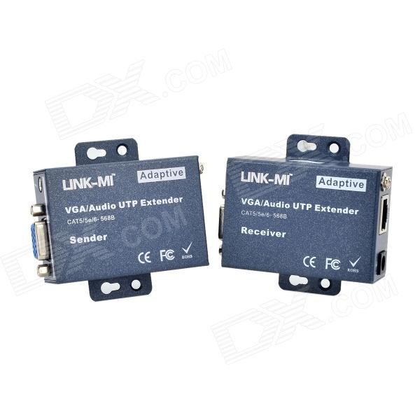 LINK-MI LM-101TRS Adaptive VGA / Audio UTP CAT5 / 5E / 6 Extender - Deep Blue (100~240V) кабель инструментальный vovox link direct s100 trs trs