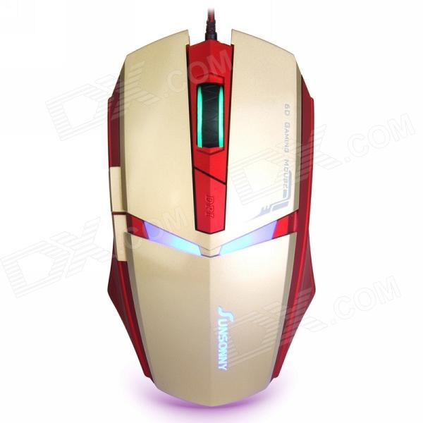 Sunsonny T-M30 USB Wired 6 Button LED Gaming Mouse - Golden + Red