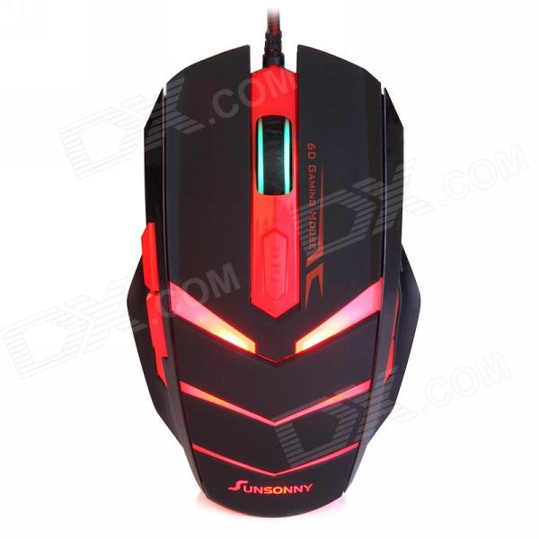 Sunsonny TM50 USB 2.0 Wired 6-Button 600/1000/1600dpi LED Red Light Gaming Mouse - Black + Red