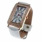 CaiQi Fashion Damen Quarz Analog Armbanduhr w / Kristall Intarsien - White Rose + Golden (1 x LR626)