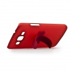 Protective PC + Rubber Back Case w/ Mini Removable Stand for Samsung G7106 - Red