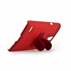 Protective PC + Rubber Back Case w/ Mini Removable Stand for Samsung G910 - Red