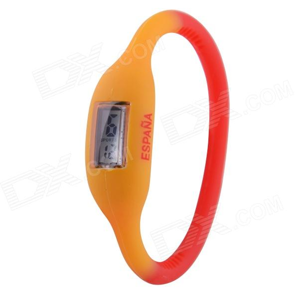 0.67 LCD 2014 World Cup Spanish Flag Design Sports Silicone Bracelet Digital Wrist Watch (1 x 377) brazil football fans caxirola cheer horn for 2014 world cup