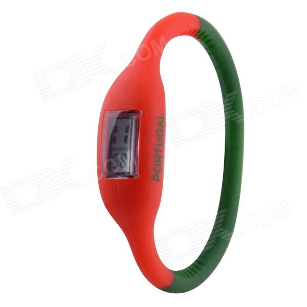0.677 LCD 2014 World Cup Portuguese Flag Design Sports Silicone Bracelet Digital Wrist Watch brazil football fans caxirola cheer horn for 2014 world cup